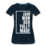 Wonderfully Made, i am / Perfectly Basic Women's Tee / White Graphic - deep navy