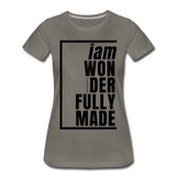 Wonderfully Made / Perfectly Basic Women's Tee / Black Graphic - asphalt gray