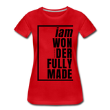 Wonderfully Made / Perfectly Basic Women's Tee / Black Graphic - red