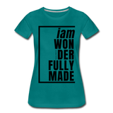 Wonderfully Made / Perfectly Basic Women's Tee / Black Graphic - teal