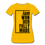 Wonderfully Made / Perfectly Basic Women's Tee / Black Graphic - sun yellow