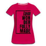 Wonderfully Made / Perfectly Basic Women's Tee / Black Graphic - dark pink