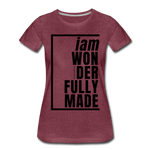 Wonderfully Made / Perfectly Basic Women's Tee / Black Graphic - heather burgundy