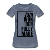 Wonderfully Made / Perfectly Basic Women's Tee / Black Graphic - heather blue