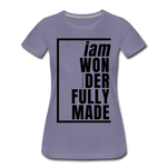 Wonderfully Made / Perfectly Basic Women's Tee / Black Graphic - washed violet