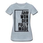Wonderfully Made / Perfectly Basic Women's Tee / Black Graphic - heather ice blue