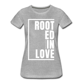 Rooted in Love / Perfectly Basic Women's Tee / White Graphic - heather gray