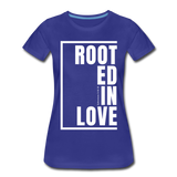 Rooted in Love / Perfectly Basic Women's Tee / White Graphic - royal blue