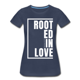 Rooted in Love / Perfectly Basic Women's Tee / White Graphic - navy