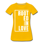 Rooted in Love / Perfectly Basic Women's Tee / White Graphic - sun yellow