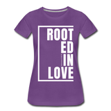 Rooted in Love / Perfectly Basic Women's Tee / White Graphic - purple