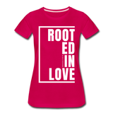 Rooted in Love / Perfectly Basic Women's Tee / White Graphic - dark pink