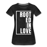 Rooted in Love / Perfectly Basic Women's Tee / White Graphic - charcoal gray