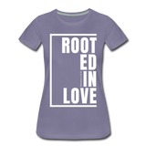 Rooted in Love / Perfectly Basic Women's Tee / White Graphic - washed violet
