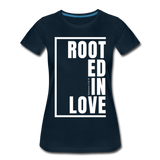 Rooted in Love / Perfectly Basic Women's Tee / White Graphic - deep navy