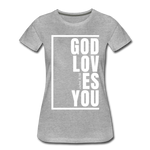 God Loves You / Perfectly Basic Women's Tee / White Graphic - heather gray