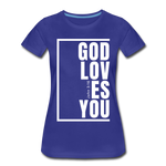 God Loves You / Perfectly Basic Women's Tee / White Graphic - royal blue