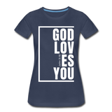 God Loves You / Perfectly Basic Women's Tee / White Graphic - navy