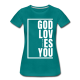 God Loves You / Perfectly Basic Women's Tee / White Graphic - teal