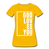 God Loves You / Perfectly Basic Women's Tee / White Graphic - sun yellow