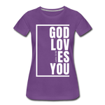 God Loves You / Perfectly Basic Women's Tee / White Graphic - purple