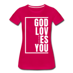 God Loves You / Perfectly Basic Women's Tee / White Graphic - dark pink
