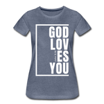 God Loves You / Perfectly Basic Women's Tee / White Graphic - heather blue