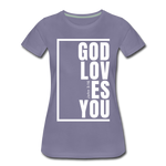 God Loves You / Perfectly Basic Women's Tee / White Graphic - washed violet