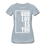 God Loves You / Perfectly Basic Women's Tee / White Graphic - heather ice blue