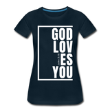 God Loves You / Perfectly Basic Women's Tee / White Graphic - deep navy