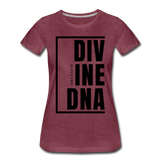 Divine DNA / Perfectly Basic Women's Tee / Black Graphic - heather burgundy