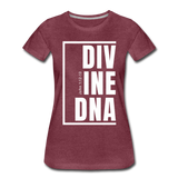 Divine DNA / Perfectly Basic Women's Tee /  White Graphic - heather burgundy