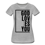 God Loves You / Perfectly Basic Women's Tee / Black Graphic - heather gray