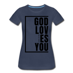 God Loves You / Perfectly Basic Women's Tee / Black Graphic - navy