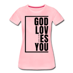 God Loves You / Perfectly Basic Women's Tee / Black Graphic - pink