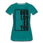God Loves You / Perfectly Basic Women's Tee / Black Graphic - teal