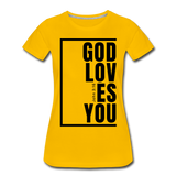 God Loves You / Perfectly Basic Women's Tee / Black Graphic - sun yellow