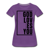 God Loves You / Perfectly Basic Women's Tee / Black Graphic - purple