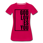 God Loves You / Perfectly Basic Women's Tee / Black Graphic - dark pink