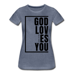 God Loves You / Perfectly Basic Women's Tee / Black Graphic - heather blue