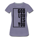 God Loves You / Perfectly Basic Women's Tee / Black Graphic - washed violet