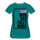 Wonderfully Made, i am / Perfectly Basic Women's Tee / Pink & Black - teal