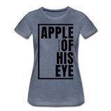 Apple of His Eye / Perfectly Basic Women's Tee / Black Graphic - heather blue