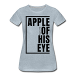 Apple of His Eye / Perfectly Basic Women's Tee / Black Graphic - heather ice blue