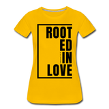 Rooted in Love / Perfectly Basic Women's Tee / Black Graphic - sun yellow