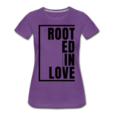 Rooted in Love / Perfectly Basic Women's Tee / Black Graphic - purple