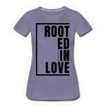 Rooted in Love / Perfectly Basic Women's Tee / Black Graphic - washed violet