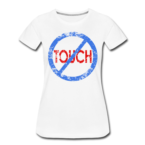 Don't Touch / Perfectly Basic Women's Tee / Blue & Red Distressed - white