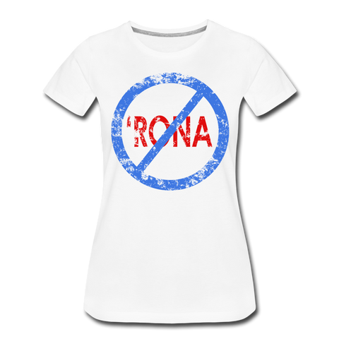 No 'Rona / Perfectly Basic Women's Tee / Blue & Red Distressed - white