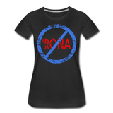 No 'Rona / Perfectly Basic Women's Tee / Blue & Red Distressed - black